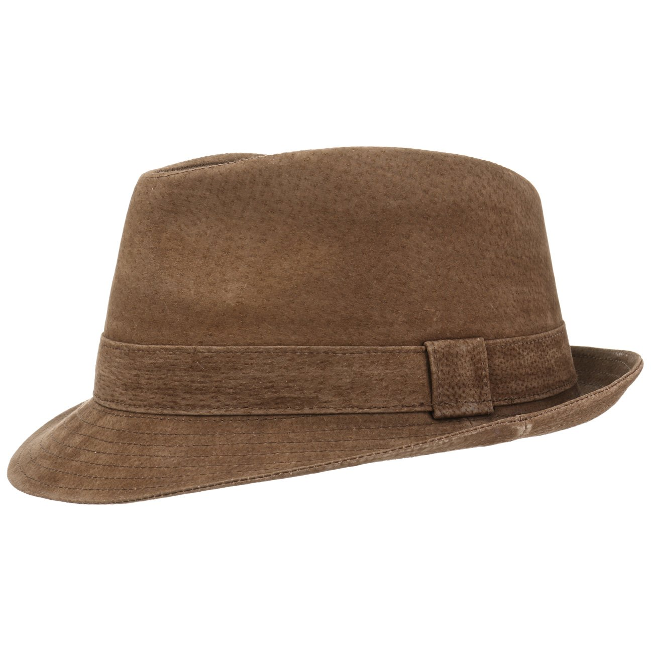 1ed5b8ab393 Lipodo Smooth Trilby Leather Hat Fedora (M (57-58 cm) - Brown)   Amazon.co.uk  Clothing