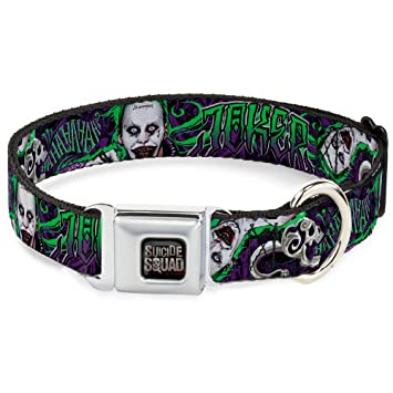 f35252994002b Buckle Down Seatbelt Buckle Dog Collar - Suicide Squad 2-Harley Quinn  Poses Daddy s Little Monster Diamonds Quote Sketches Black  Reds Blues Purples