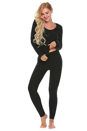 9a6384afe23db5 Zouvo Women Cotton Thermal Underwear O Neck Soft Long Johns Sets (Black, S)