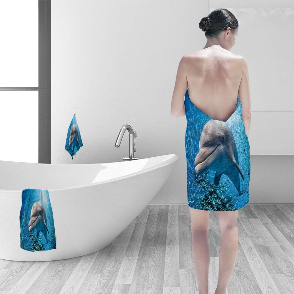 Nalahomeqq Hand towel set Sea Animals Decor Bottlenose Dolphin in Ocean Fish Sunlight in Marine Natural Underwater Fabric Bathroom Decor Blue Grey