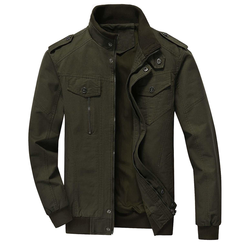 a9a97508550 KEFITEVD Men s Cotton Windbreaker Jacket Military Zipper Bomber Cargo  Outwear Jackets Coat  Amazon.co.uk  Clothing