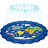 "MAGIFIRE Splash Pad, Sprinkler for Kids & Baby Pool 3-in-1 67"" Water Toys Gifts for 1 2 3 4 5 Year Old Boys Girls Toddler Splash Play Mat(Map)"