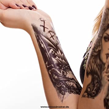 Tatuaje temporal, diseño de reloj, zombi y la muerte, lámina ...