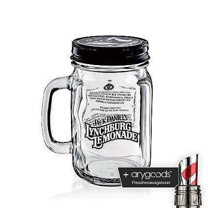 Jack Daniels Cristal Lynchburg – Jarra con tapa vasos de cóctel gastro bar decoración + Botella