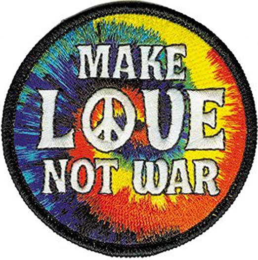 Novelty Iron On Patch - Peace Signs - Make Love Not War Peace Sign Logo -  Applique