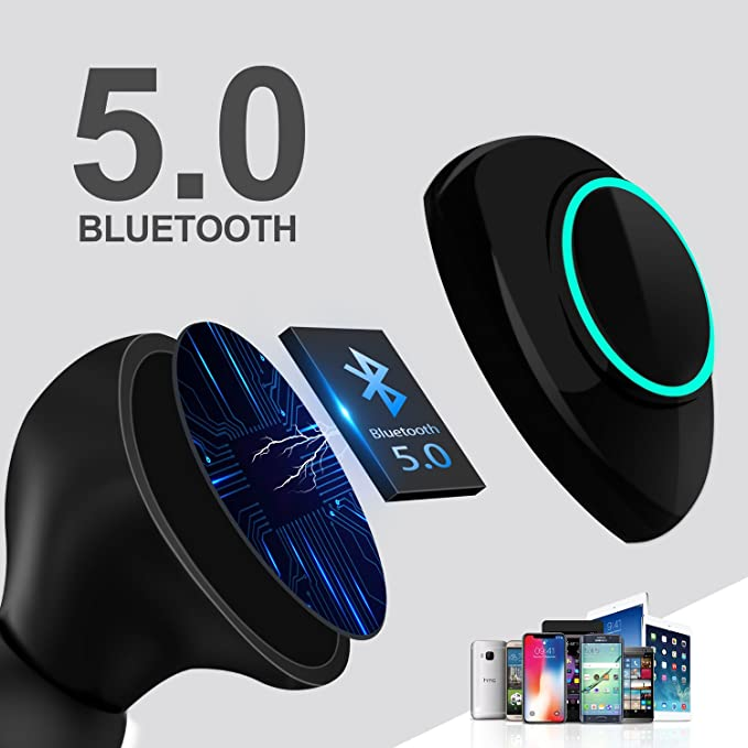 LeaderPro Auriculares In-Ear Mini Auriculares Bluetooth Inalámbricos TWS 5.0 CVC 6.0 con Micrófono y Caja de Carga Arranque automático Carga magnética de ...