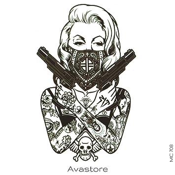 Tatouage Temporaire Femme Gangster Arme Noir Tatouage