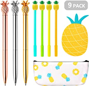 Pineapple Pens Set, Ballpoint Pens with Pineapple Pencil Pouch Bags Pineapple Notes Stickers for Office School