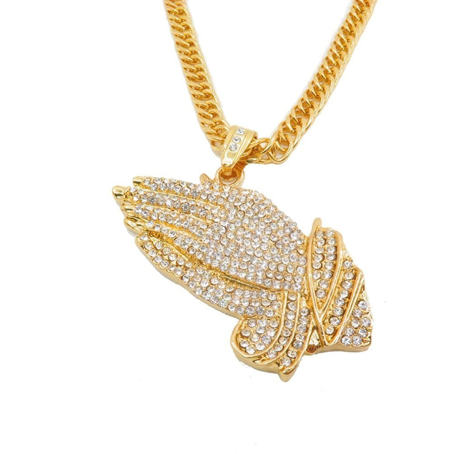 987db2b0ac374 MENS ICED OUT GOLDEN/Silver PRAYING HANDS PENDANT 35