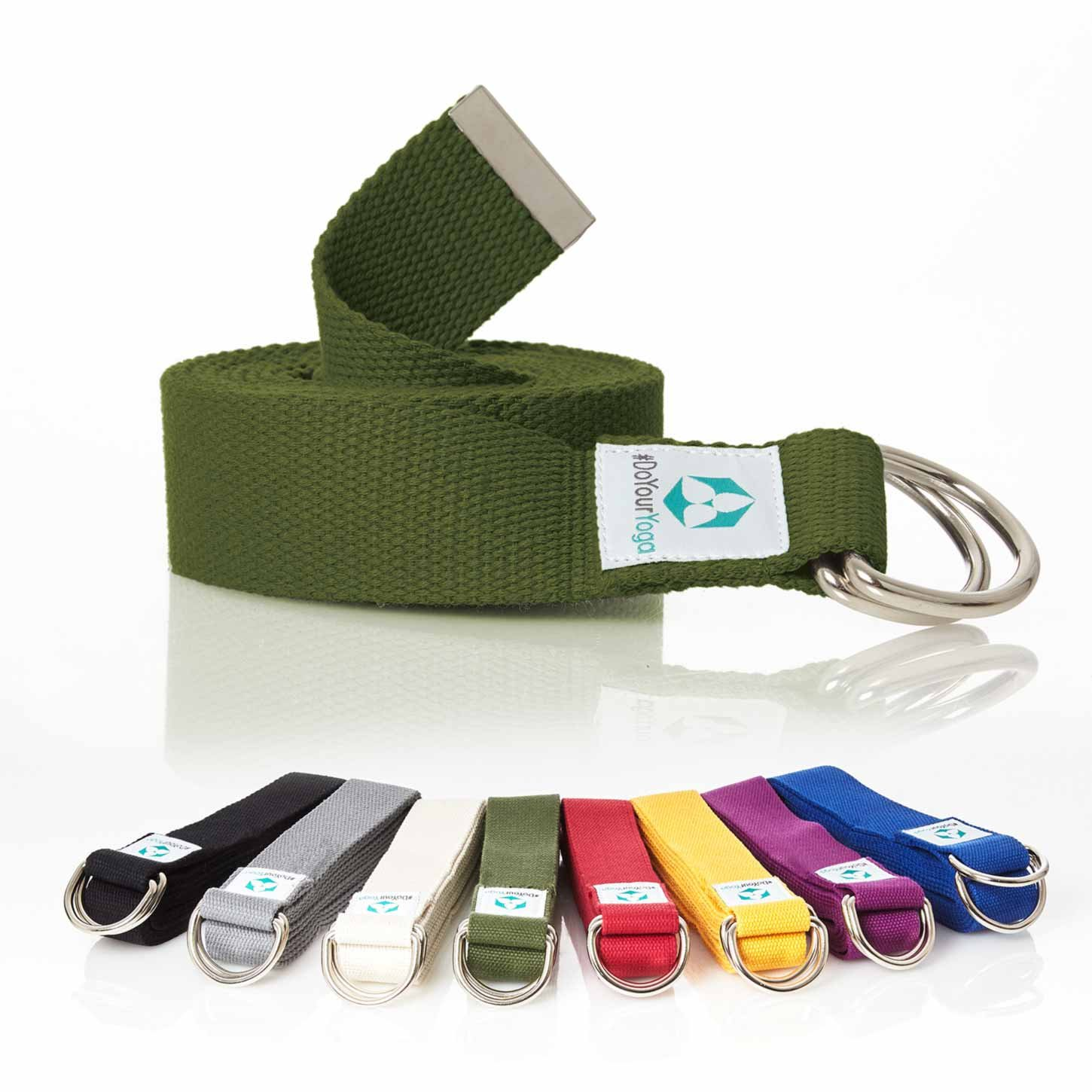 'Madira Yoga Belt/Yoga Strap/Yoga Belt Strap 100% Cotton Sturdy Metal Loop Closure/250 x 3.8 cm/Available in different colours #doyoursports GmbH