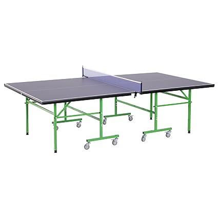 HOMCOM Mesa de Ping Pong Plegable con Ruedas Red Tenis de Mesa Portátil Patas Ajustables para