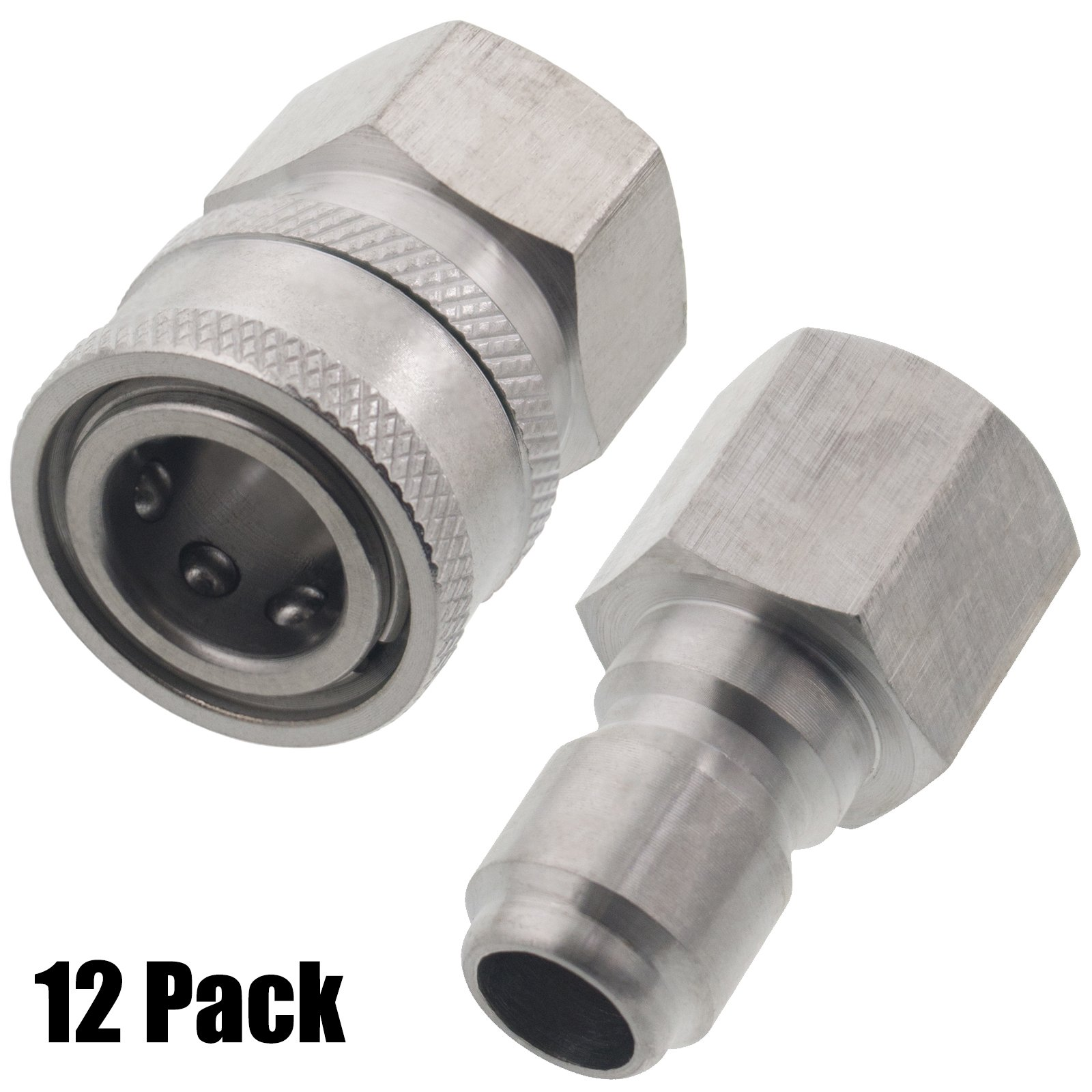 Erie Tools 12 Pressure Washer 3/8'' Female NPT Quick Connect Stainless Steel Socket Set and Plug, High Temp, 5000 PSI, 10.5 GPM