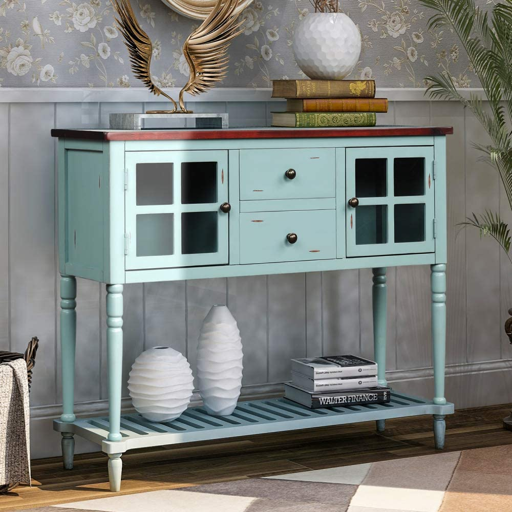 TREXM Sideboard Console Table with Bottom Shelf, Farmhouse Wood/Glass Buffet Storage Cabinet Living Room (Retro Blue)