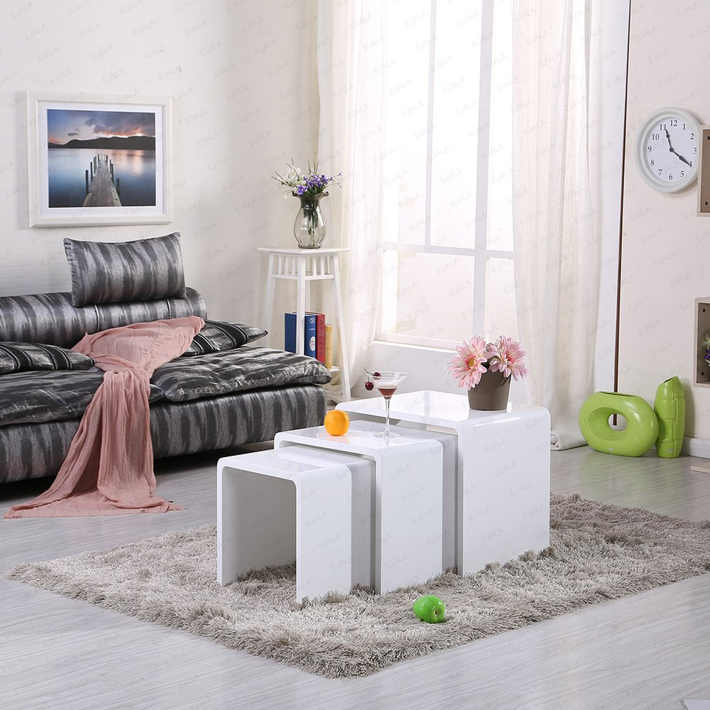 CLASK HIGH GLOSS NEST OF 3 COFFEE TABLE WHITE: Amazon.co.uk ...