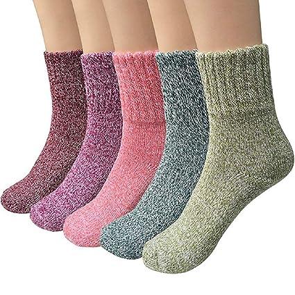 YIQI Calcetines de Invierno para Mujeres, Calcetines Gruesos de Lana Calcetines de Colores Respirable Cálido