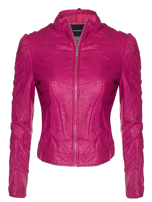 Ijkw002 Fuchsia Instar Mode Women's Long Sleeve Zipper Closure Moto Biker Faux Leather Jacket