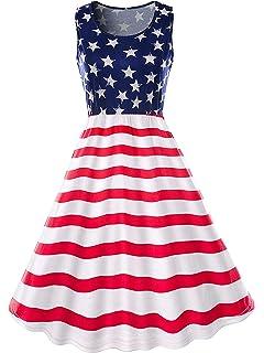 da5e7f906d78 Amazon.com: Gyoume American Flag Dress,Womens Long Dress Sleeveless ...