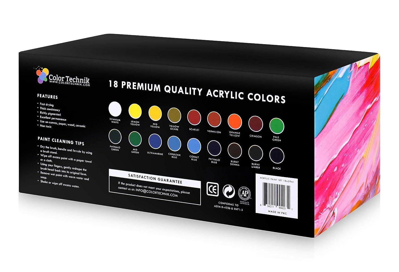 Acrylic Paint Set by Color Technik Artist Quality Large Set  18x59ml 2Ounce Bottles Best Colors for