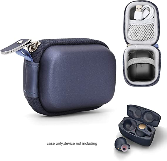 Amazon Com Moonstruck True Wireless Earbuds Case For Jabra Elite 65t Elite Active 65t Elite Sport True Wireless Earbuds Mesh Pocket For Cable And Elastic Secure Strap Easy To Carabiner Blue