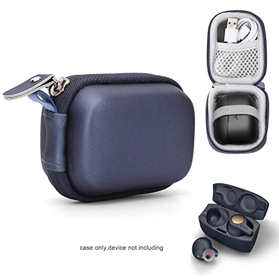 Moonstruck True Wireless Earbuds Case For Jabra Elite 65t Elite Active 65t Elite Sport True Wireless Earbuds Mesh Pocket For Cable And Elastic Secure Strap Easy To Carabiner Blue Amazon In Electronics