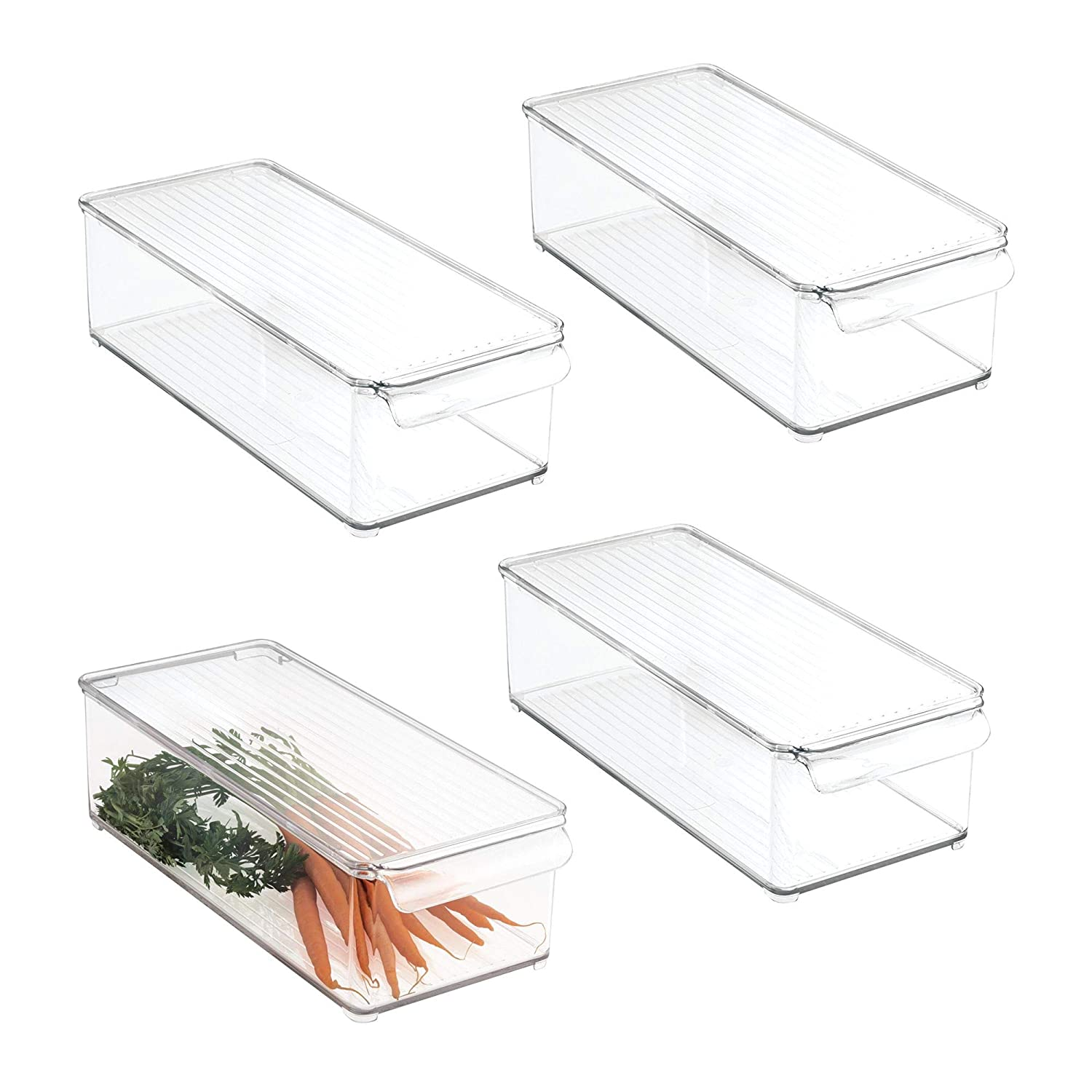 mDesign Plastic Food Storage Container Bin with Lid and Handle - for Kitchen, Pantry, Cabinet, Fridge/Freezer - Organizer for Snacks, Produce, Vegetables, Pasta - 4 Pack, Clear