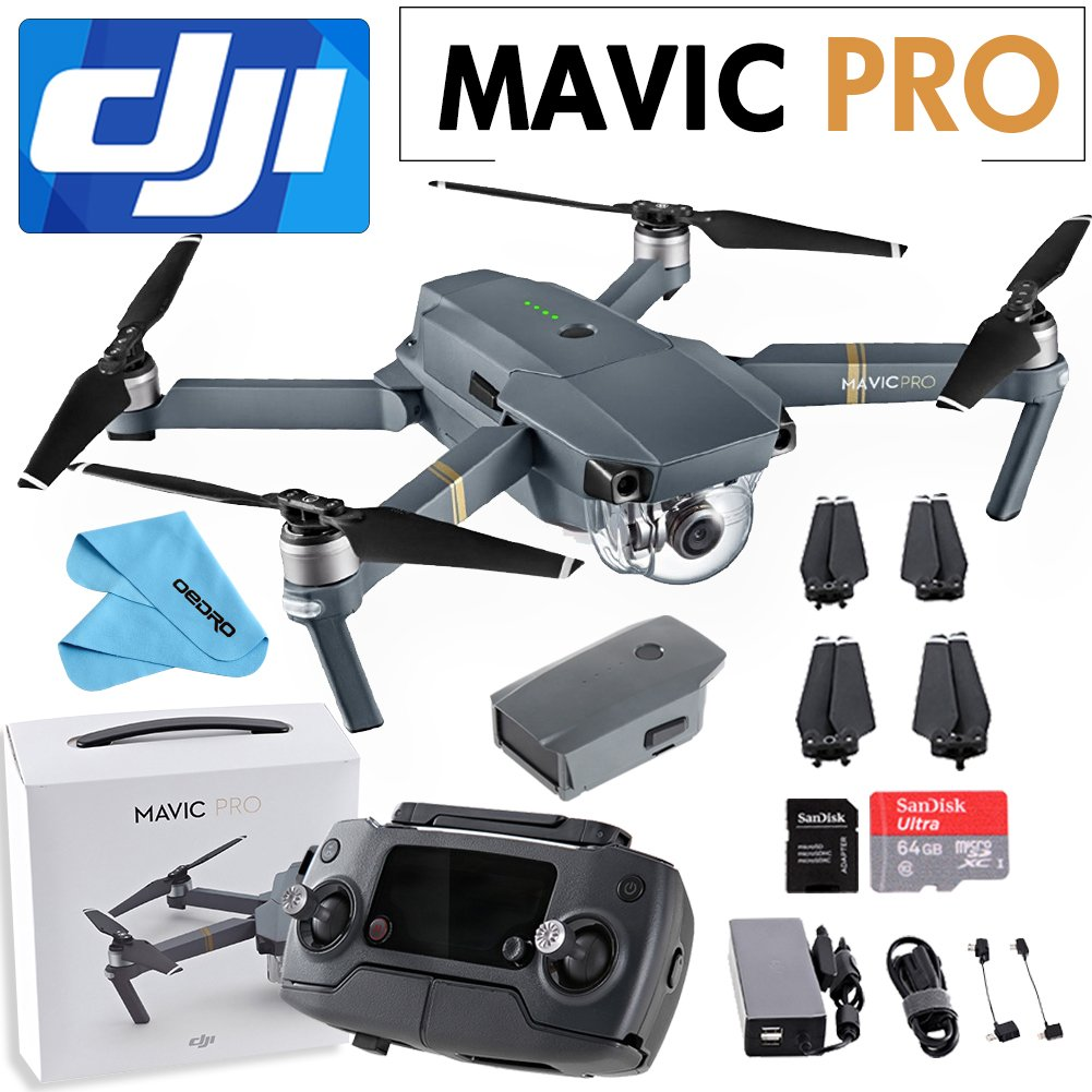 DJI Mavic Pro Collapsible Quadcopter+SanDisk 64GB+Cleaning Cloth