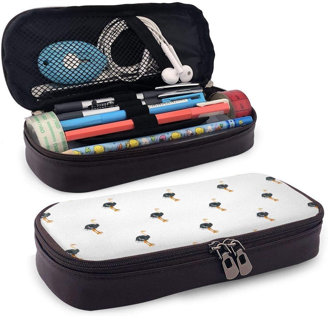 Estuche de lápices de cuero de PU Cuero de avestruz Funda de lápices impresa en 3D Nano Estuche de lápices lindo con cremallera Estuche de lápices para estudiantes, caja de papelería