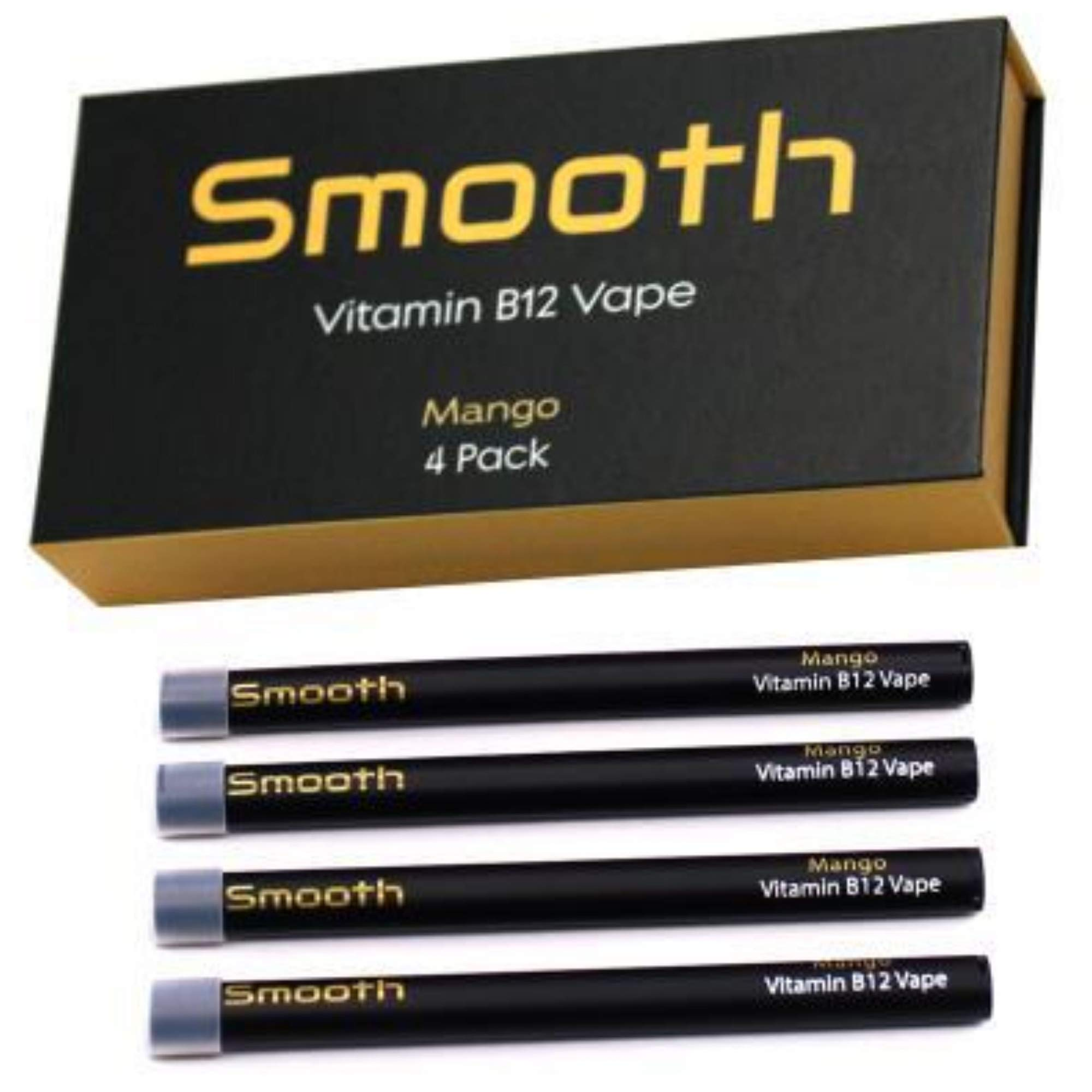 Smooth Vitamin B12 Pen for Energy: All Natural, Vegan-Friendly Vitamin B12 Inhalable Aromatherapy | Great Taste, No Calories, Nicotine Free | Mango Flavor (4 Pack) by Smooth Vitamins