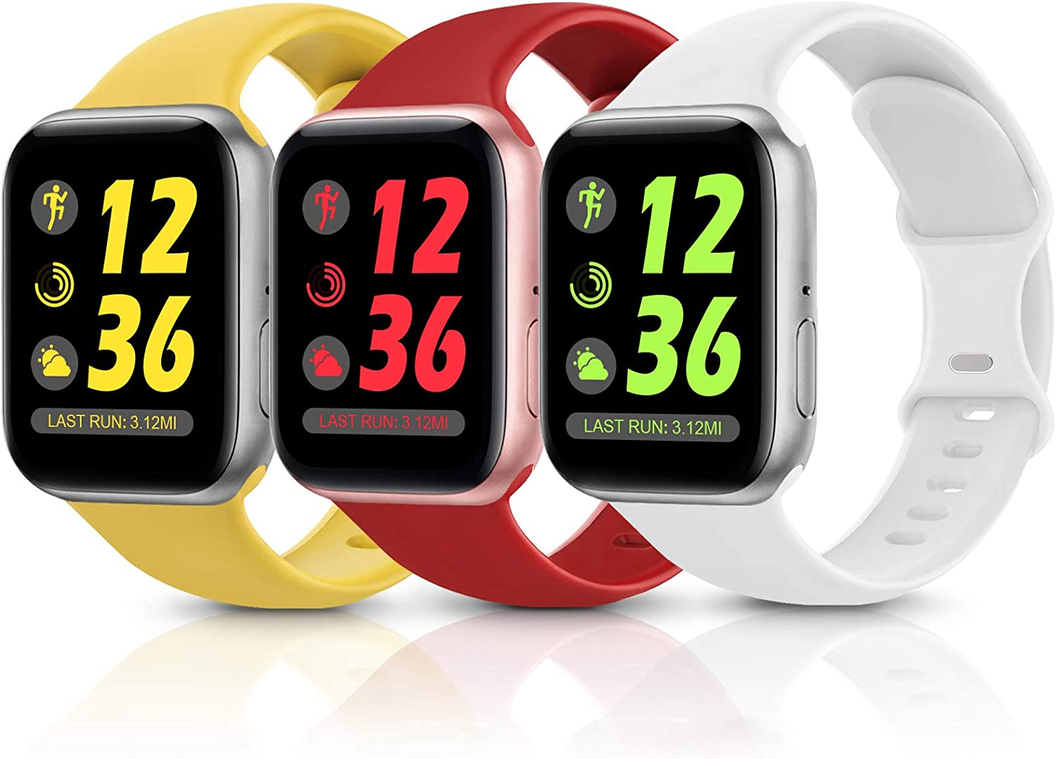 Sport Silicone Band Compatible with Apple Watch Bands 38mm 40mm 42mm 44mm,Soft Replacement Wristbands for iWatch Series 1/2/3/4/5/6/SE,Women Men,3 Pack(Red/White/Yellow,38mm/40mm-S/M)
