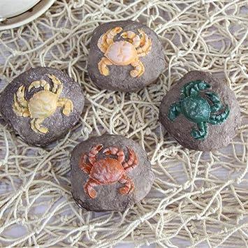 Ari_Mao Ornamento de Piedra del Acuario con el patrón del Cangrejo para la decoración del Paisaje del Acuario (Color al Azar): Amazon.es: Hogar
