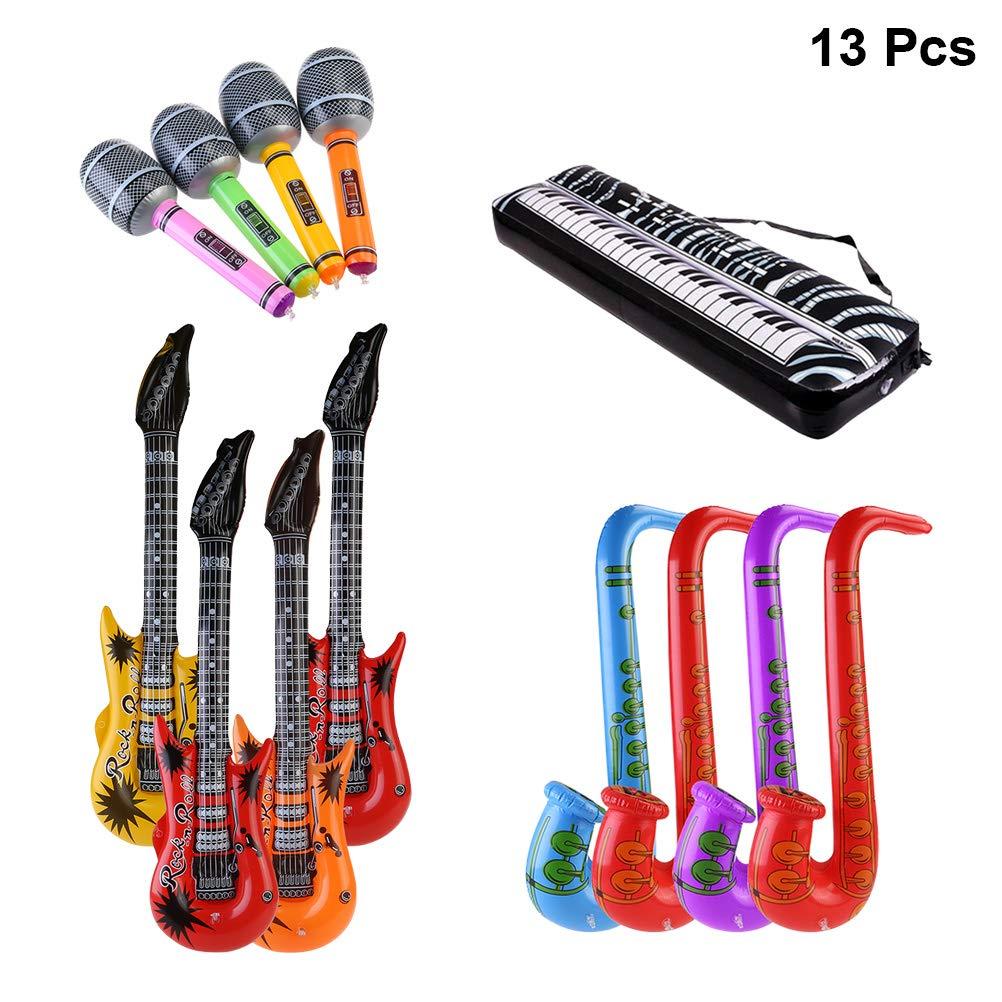 M/úsica Parte Prop para Fiesta,Rock Star Saxof/ón Guitarra Micr/ófono Inflatable Instruments Guitarra flama Inflable Guitarra SWZY Inflables de Juguete Color al Azar