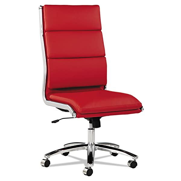 Alera ALENR4139 Neratoli Series HighBack Swivel/Tilt Chair, Red Soft Leather, Chrome Frame
