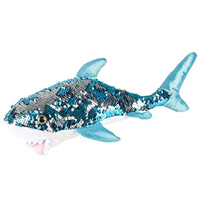 "Adventure Planet Reversible Mermaid Sequins Great White Shark 10"" Plush: Toys & Games"