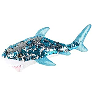 "Adventure Planet Reversible Mermaid Sequins Great White Shark 10"" Plush"