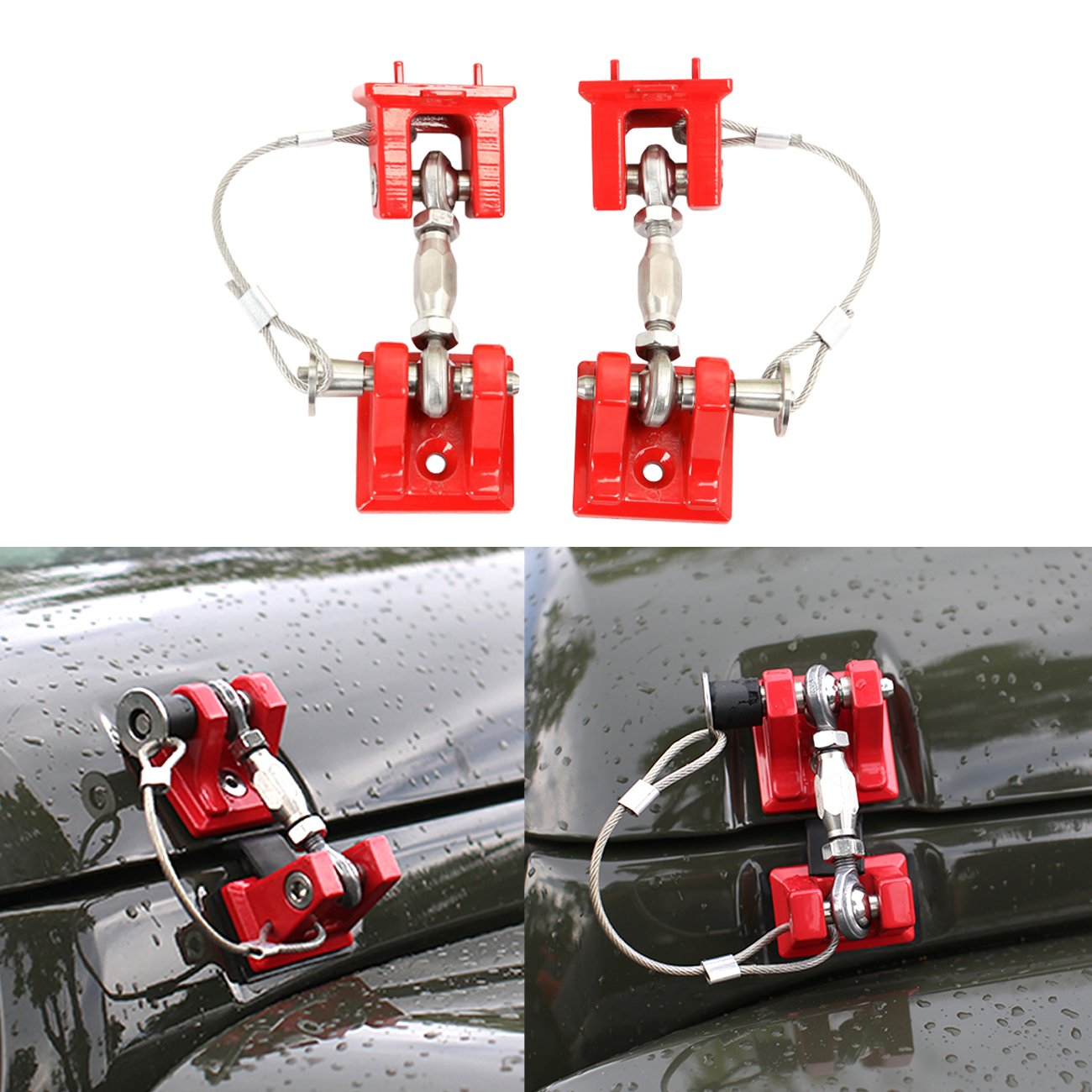 DIYTUNINGS Red Hood Catch Kit Sets Latches Stainless Steel for Jeep Wrangler 2007-2017 JK & Unlimited - Pair