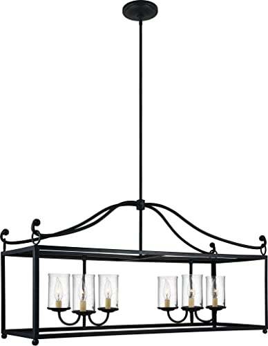 Feiss F2971 6AF Declaration Glass Candle Island Chandelier Lighting, Iron, 6-Light 41 W x 22 H 360watts