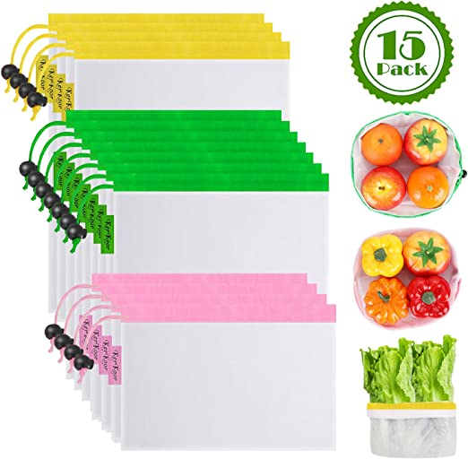 Groceries Tools /& Toys Reusable Produce Bags See-Through,Easy to Scan Code Shopping Storage of Fruit Vegetable 9 Pack Washable Eco Friendly Mesh Bags with Drawstring Lightweight
