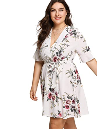 23b0a385084 Milumia Plus Size Wrap Dress Short Sleeves Summer Mini Dress Knee Length  Evening Club Dress White