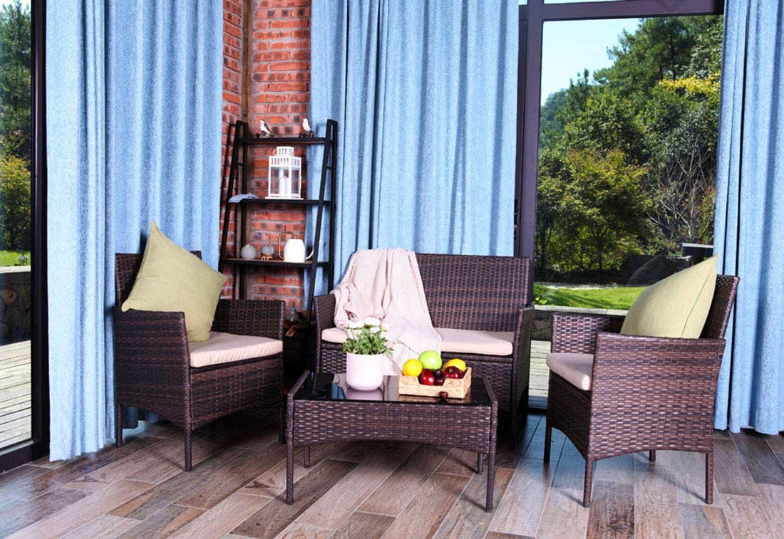 United Flame 4PCS Patio Furniture Sets Outdoor Chair Rattan Convenience Set Backyard Porch Garden Balcony Furniture Set Section Sofa with Beige Cushions and Glass Table All Weather Furniture Sets : Garden & Outdoor