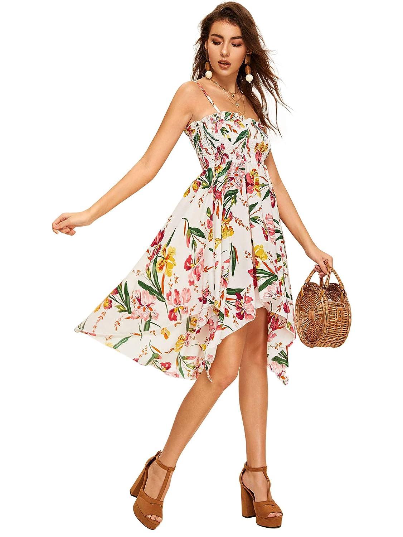 Milumia Womens Floral Print Spaghetti Strap Short Dress
