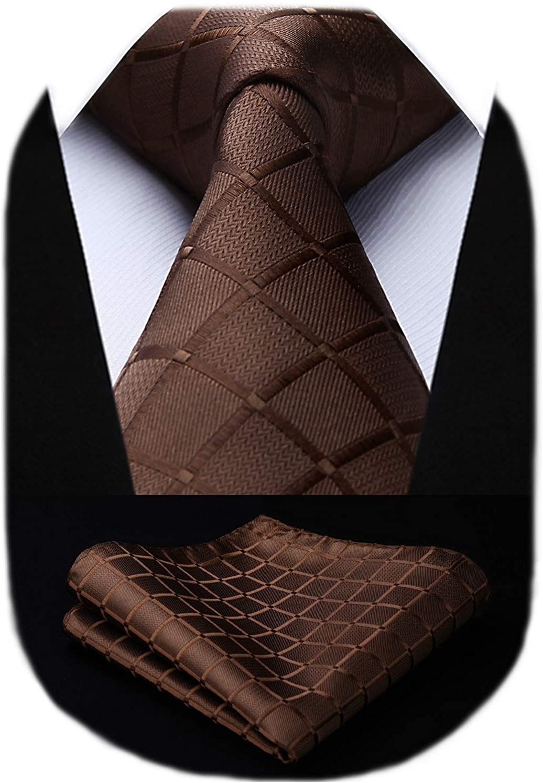 HISDERN Plaid Polka Dots Stripe Tie Handkerchief Woven Classic Men's Necktie & Pocket Square Set
