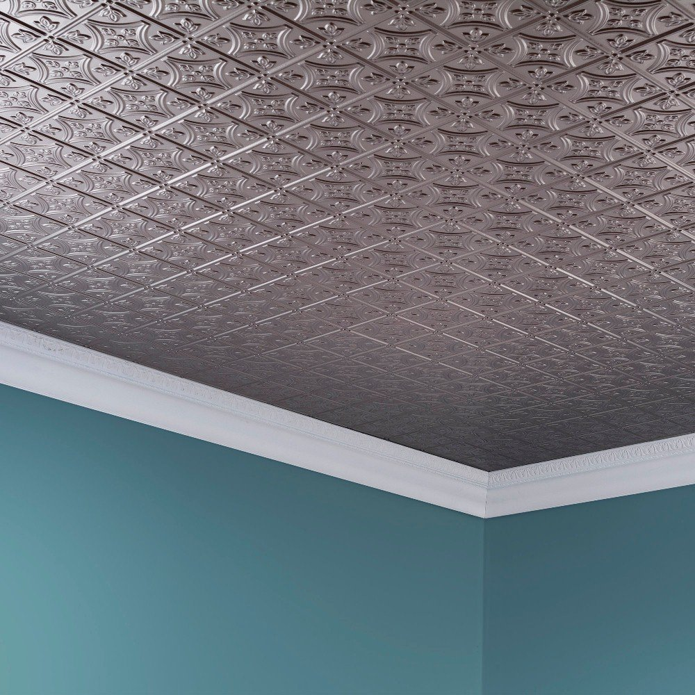 Fasade Easy Installation Traditional 1 Brushed Nickel Glue Up Ceiling Tile / Ceiling Panel (2' x 4' Panel) by FASÄDE (Image #4)