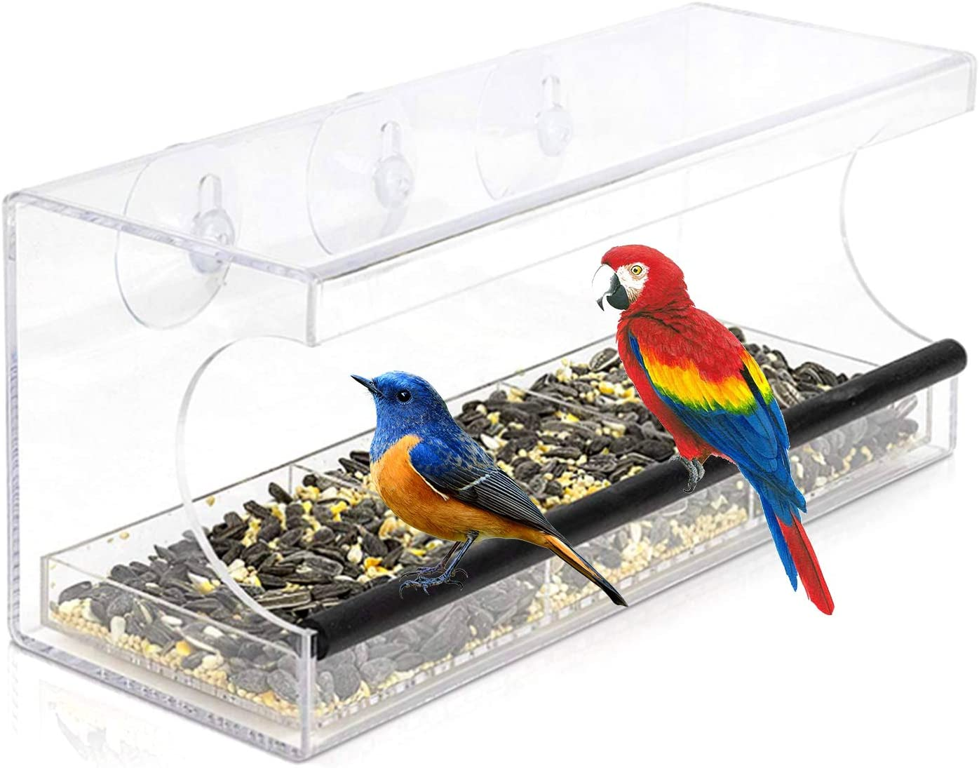 Hylotele Comedero para pájaros con Ventana de acrílico Transparente con 3 ventosas y Orificios de Drenaje Gran Capacidad de alimentación Casita para pájaros Exterior para Vista de Cerca Aves Silvestr