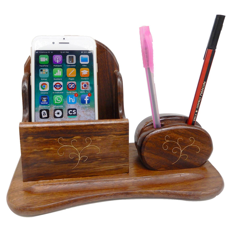 Regalo speciale per tua sorella in questo Rakhi, Supporto di legno mobile della penna del cum della penna, supporto dell'ufficio di legno & mobile inlay dell'artigiano 8 * 3.5 * 5.5 inch PMK