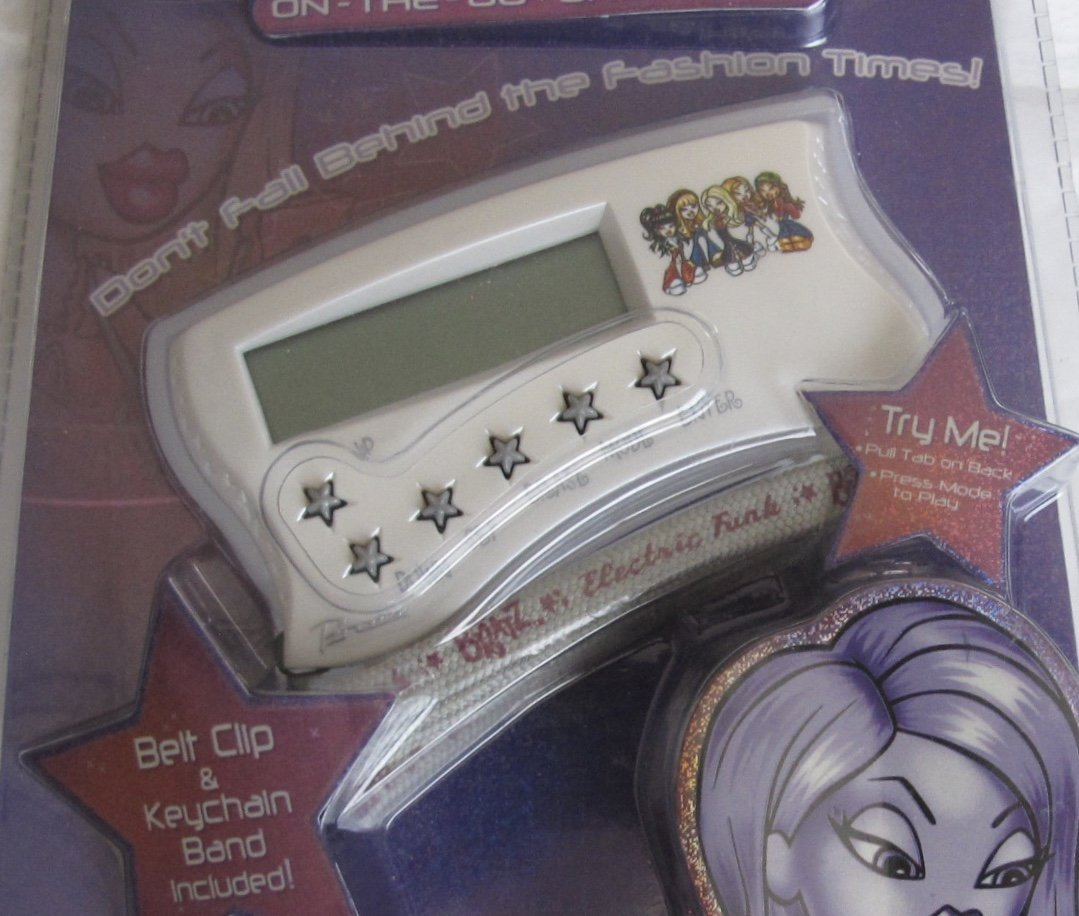 MGA Handheld Electronic FUNK BRATZ ORGANIZER w BUILT In Clock, Stopwatch, Odometer, 2 Games, Currency Converter, Etc & PASSWORD PROTECTED (2003)