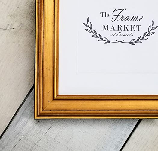 Amazon.com: Plein Air Gold 1 1/4\'\' Wood Picture Frame with White Mat ...
