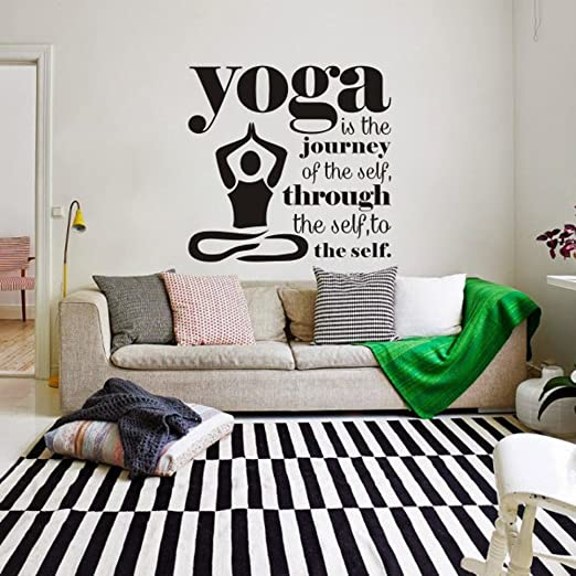 Amazon Com Mairgwall Yoga Studio Decor It Is The Journey Of The Self Home Living Vinyl Bedroom Decoration 56 H X58 W Black Home Kitchen