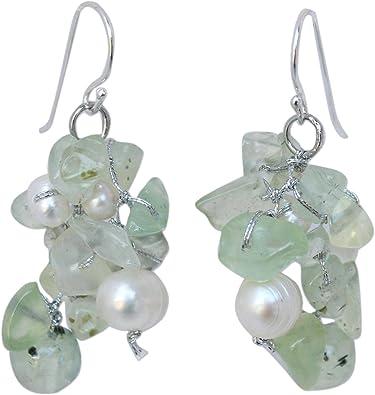 Jewelry Gifts Prehnite and Herkimer Diamond Earrings Earrings Prehnite Gifts
