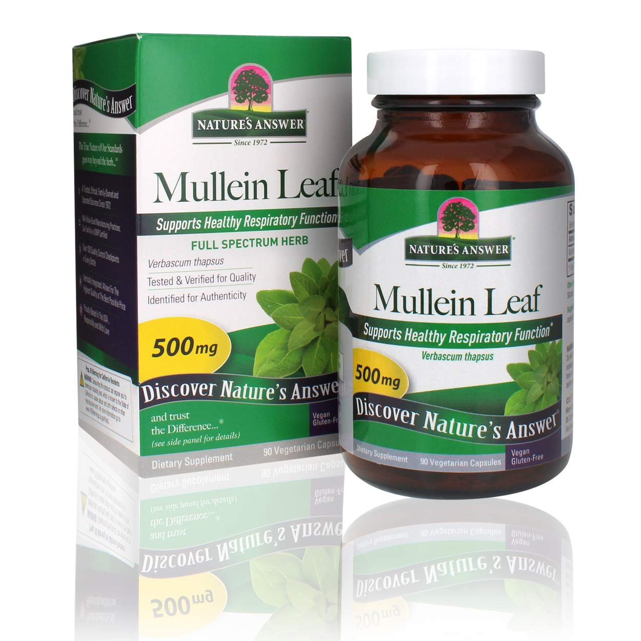 Nature's Answer Mullein Leaf Verbascum Thapsus 500mg | Herb Ideal for Immune and Inflammation | Full Spectrum Herb | Supports Healthy Respiratory Function | Gluten-Free, Vegetarian/Vegan 90 Capsules