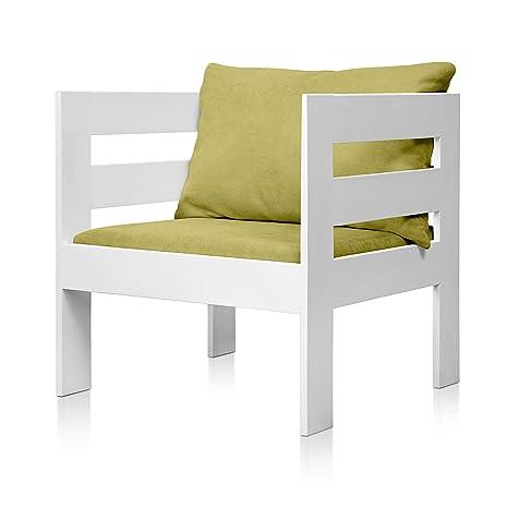 SUENOSZZZ - Sofa Jardin de Madera de Pino Color Blanco, MEDITERRANEO Mod. sillón, Sillon cojín Tela Color Pistacho. Muebles Jardin Exterior. Silla ...